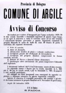 14 - Avviso concorso per 2 maestri Argile 1878