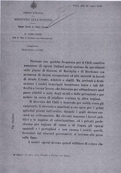 16-Circolare Ministro Berti per Chilì.1889
