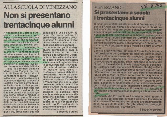 Articoli su protesta 35 alunni scuola Venezzano 1992