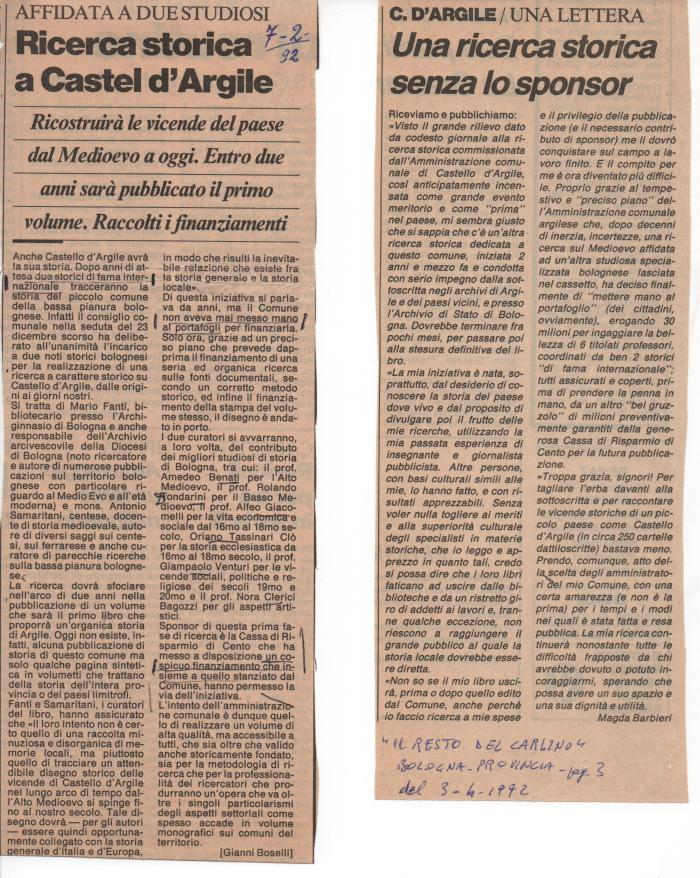 Articolo Buratti e replica mia su ricerca storica comune, 1992