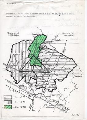 Cartina con proposta unione 3 USL '93