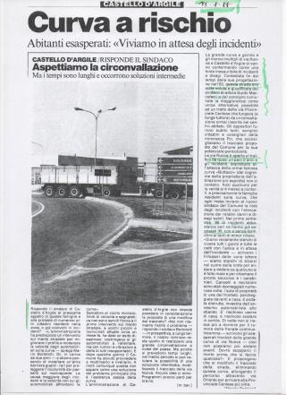 Curva Circonvallazione Argile , articolo agosto 1988