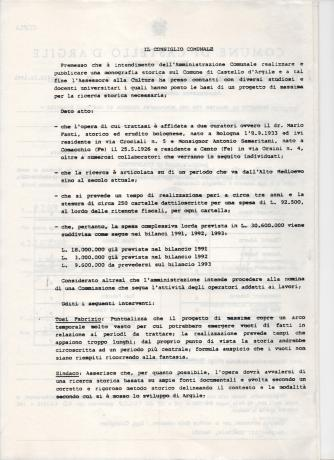 Delibera del Consiglio comunale per ricerca storica con esperti, 23 dic, 1991