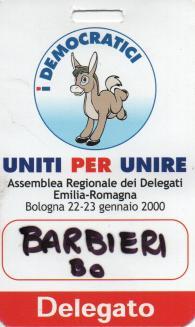 Democratici Asinello, tesserino delegato 2000