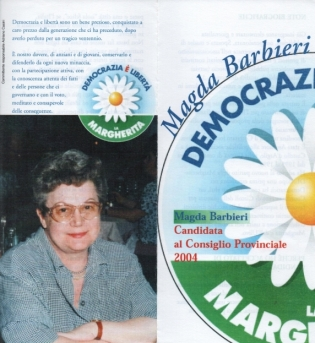 Depliant Magda candidata Margherita 2004, foto ridotta.