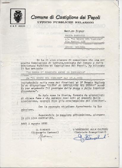 Lettera Comune Castiglion dei Pepoli per candidatura premio articolo su droga