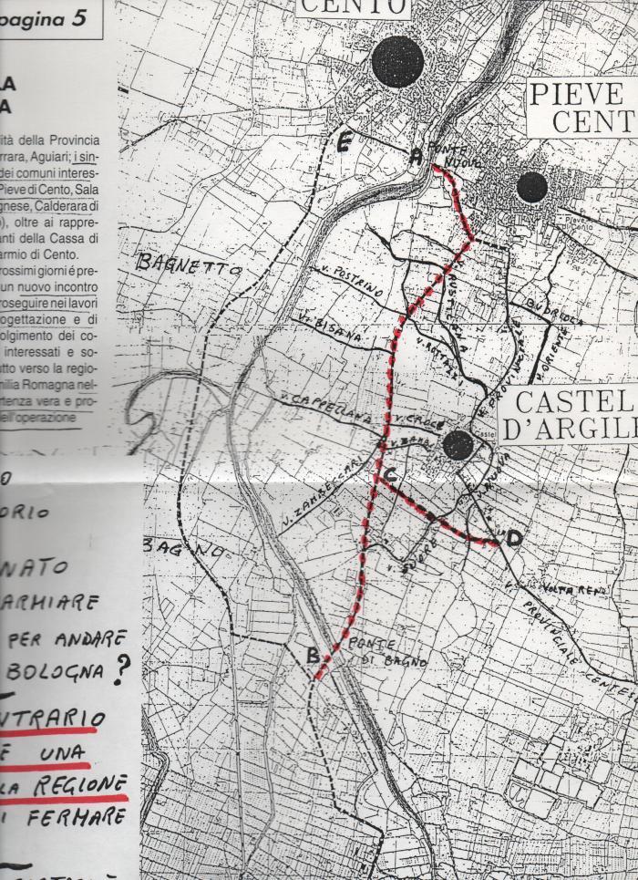 Progetto di strada Cento- Bologna attraverso Argile