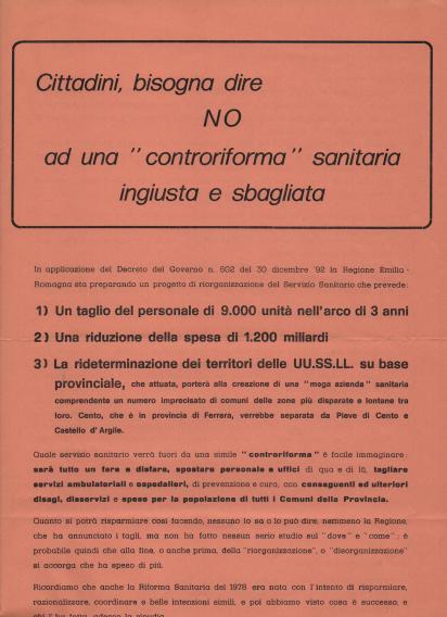 Volantino per petizione contro riforma sanitaria 1992