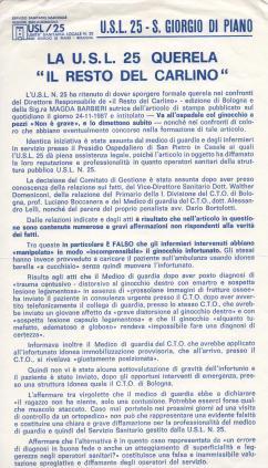 Volantino USL 25 per querela, firmato Gulinatti