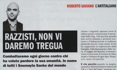 """Saviano contro i """"razzisti"""""""